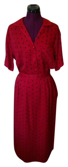 Nordstrom Nordstrom red with poka dots silk skirt outfit