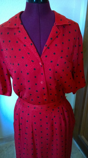 Nordstrom Nordstrom red with poka dots silk skirt outfit Image 4