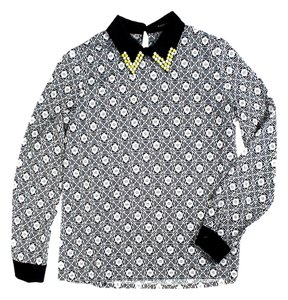 Sister Jane Long Sleeve Jeweled Collar Shirt Top Black/White
