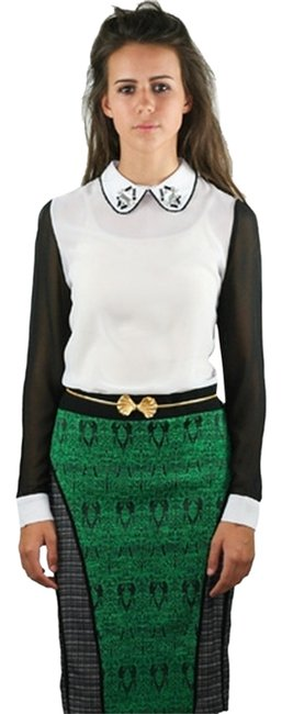 Item - Green Women's Printed Jacquard and Tweed Large Skirt Size 12 (L, 32, 33)