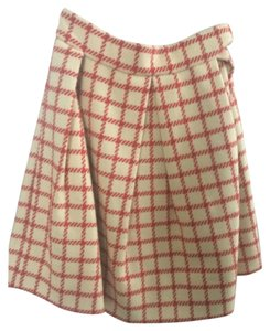 Orla Kiely Mini Skirt Cream with red plaid