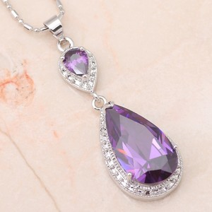 Gorgeous Amethyst Water Drop Necklace Set Silver Filled