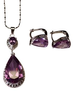 Gorgeous Silver Filled Amethyst Water Drop Necklace Set