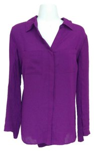 INC International Concepts Shirt Plus Size Button Down Collared Long Sleeve V-neck 0x Top Purple