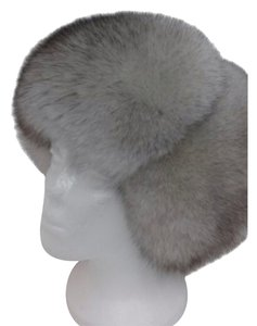 Other NATURAL BLUE FOX FUR SUEDE WOMEN'S RUSSIAN USHANKA HAT SIZE L 57 NEW WITH TAG