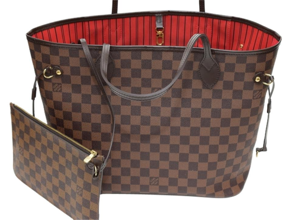d5cc40e5051c Louis Vuitton Neverfull Mm Damier Ebene - Made In Spain Brown Canvas  Leather Tote