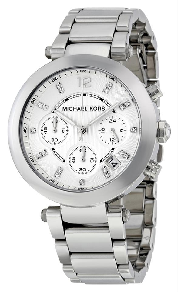 Shop Women's Michael Kors Silver size Adjustable Watches at a discounted price at Poshmark. Description: Michael Kors Silver Watch/ Real Swarvolski Crystals/ Good Condition/ Style# MK/ Comes with Box. Sold by astridcifu. Fast delivery, full service customer support.