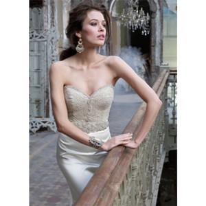 Lazaro Ivory Satin Gown Modern Wedding Dress Size 6 (S)