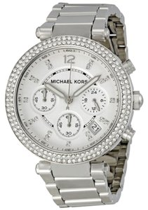 Michael Kors Silver tone Crystal Pave Bezel Ladies Designer Fashion Watch