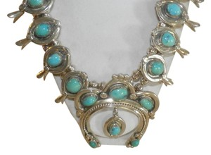 W. HALEY W HALEY VINTAGE NATIVE AMERICAN TURQUOISE NECKLACE STERLING S BLOSSOM