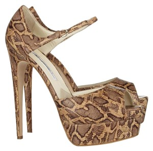 Brian Atwood Open Toe Pump brown snake print Pumps
