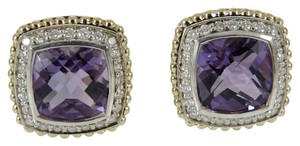 Lagos Lagos Sterling Silver 18K Yellow Gold .62tcw Amethyst Diamond Prism Earrings - Retail $2550