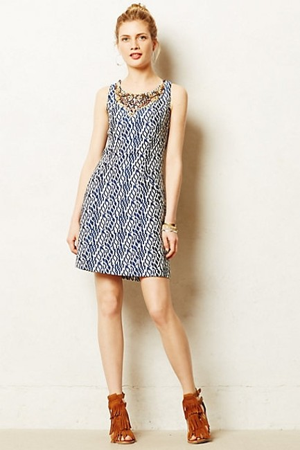 Anthropologie Mulberry Sheath Embellished Beads Jacquard Moulinette Soeurs Dress