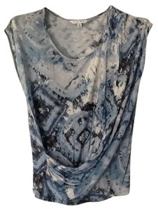 19bfd606f3170d CAbi Cap Sleeve Light Weight T Shirt Tie Dye Navy Blue to White