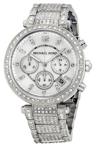 Michael Kors Silver tone Crystal Pave Luxury Glam Designer Ladies Dress Watch