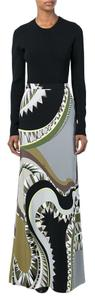 Emilio Pucci Viscose Silk Print Pencil Multicolored Maxi Skirt