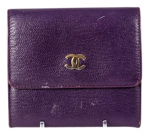 Chanel * Chanel Purple Leather Porte Monnaie French Wallet