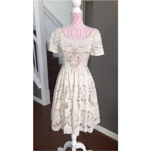 Anthropologie Cream Lace Casual Wedding Dress Size 0 (XS)