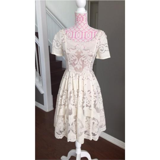 Anthropologie Cream Lace Casual Wedding Dress Size 0 (XS