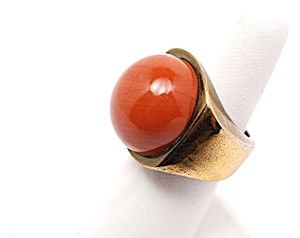 Fendi FENDI Rust Jasper Round Stone RING w/Brass Deco Setting - Great Design - Sz 7.5