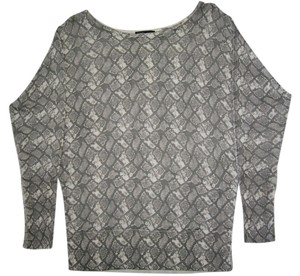 linQ Animal Print Snakeskin Bamboo Crew Neck Gray Sweater