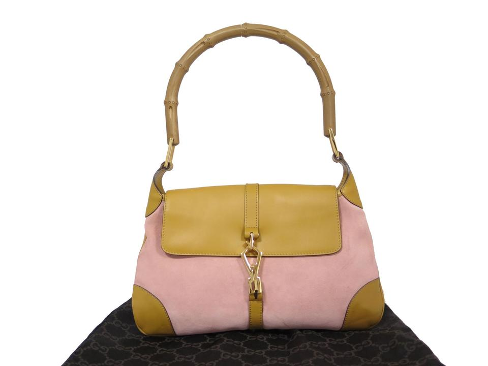 Excellent Gucci Jackie Bamboo Handle Handbag Purse Tan Pink Suede Leather  IQ08