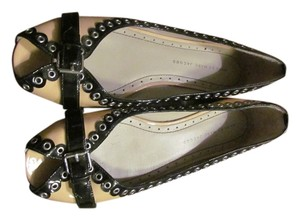 Marc Jacobs Studded Patent Beige and Black Flats