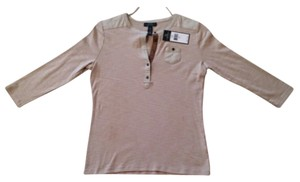 Ralph Lauren T Shirt Khaki with brown trim