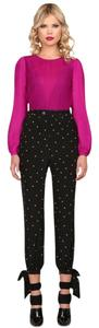 Harlyn Silk Trouser Star Star Print Trouser Pants Black