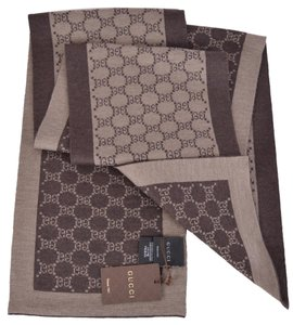 Gucci NEW Gucci 421068 Men's Tan and Brown GG Guccissima Scarf Muffler