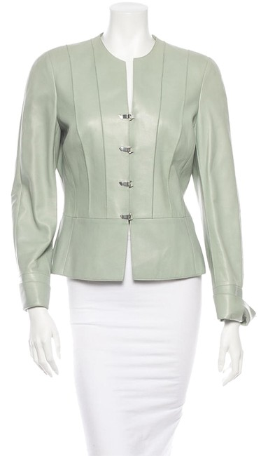 Akris Paneled Mint Green Leather Jacket