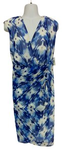 Alfani short dress Blue & white Wrap Style V-neck Sleeveless Plus Size 18w Empire Waist on Tradesy