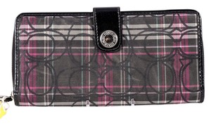 Coach * Coach Tartan Signature Plaid Accordion Zip Around Full Wallet