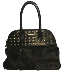 Rebecca Minkoff Fur Black Handbag Satchel in Black/Gold