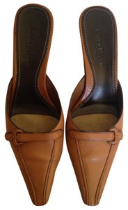 Cole Haan Leather Pointed Toe Camel Mules