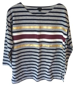 J.Crew Metallic Long Sleeve Stripe Cute Burgundy Navy Gold T Shirt