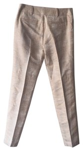 Tory Burch Straight Pants Beige/ Pink Rose Brocade