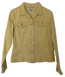 CAbi Denim Silver Hardwear Brown Stitching Golden Daisy Yellow Jacket