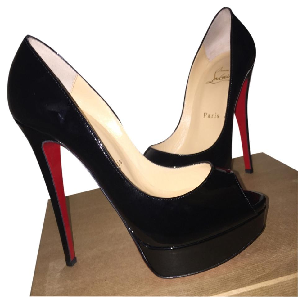 half off 0e55d cf6a7 Christian Louboutin Black Lady Peep Patent Red Sole Pumps Size US 7.5 39%  off retail