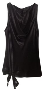 Saks Fifth Avenue Silk Draped Bow Top Black