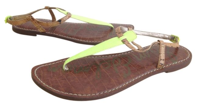 Item - Tan and Neon Yellow T-strap Sandals Size US 6.5 Regular (M, B)