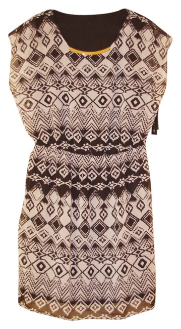 AB Studio short dress Black and Cream Geometric Print on Tradesy