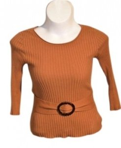 Tracy M Tracy M. Ribbed With Belt Large Buckle Round Neck Color Size M 15
