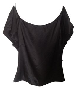 Mango Silk Neckline Mng Top Black