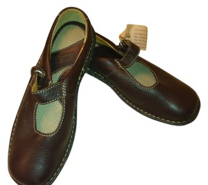 Børn Mary Jane Style Genuine Leather Velcro Strap Brown Mules