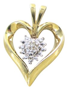 Other 10K SOLID YELLOW GOLD HEART PENDANT 1 GENUINE DIAMOND .02 CARAT LOVE FINE JEWEL