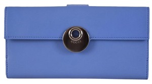 Gucci New Gucci BLUE Leather GG Guccissima Continental W/Coin Wallet