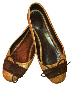 Escada Genuine Leather Ballet Bow Coffee brown Flats