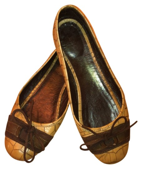 Escada Genuine Leather Ballet Bow Coffee brown Flats Image 0