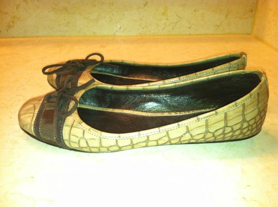 Escada Genuine Leather Ballet Bow Coffee brown Flats Image 1